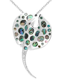 Sterling Silver Stingray Necklace 479 with Abalone Shell
