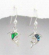 Sterling Silver Dolphin with abalone shell Earrings 406