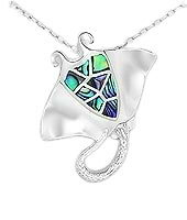 Sterling Silver Manta Ray Pendant 0173 with Abalone Shell