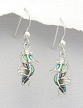 Sterling Silver Seahorse with Abalone Shell Earrings 558
