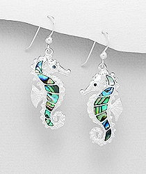 Sterling Silver Seahorse Earrings 6073 with Abalone Shell