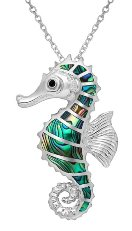 Abalone Shell Seahorse Sterling Silver Necklace 4853