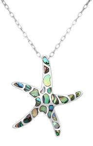 Sterling Silver Starfish with Abalone Shell Necklace 1311 with Cable Chain