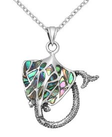 Abalone Shell Stingray Sterling Silver Pendant 9543
