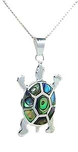 Sterling Silver Tortoise Necklace 081 with Abalone Shell
