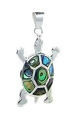 Sterling Silver Tortoise Pendant 081 with Abalone Shell