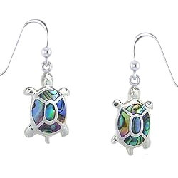 Sterling Silver Turtle Earrings with Abalone Shell
