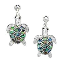 Sterling Silver Sea Turtle with Abalone Shell Post Earrings 955