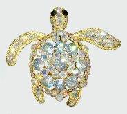 Sea Turtle Aurora Borealis Crystal Pendant