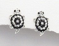 Sterling Silver Tortoise Earrings with Black Crystals 064