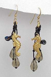Black Handmade Seahorse Earrings 746