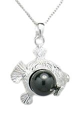 Sterling Silver Fish Necklace with Black Pearl