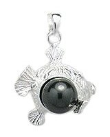 Fish with Black Pearl Sterling Silver Pendant PP 657