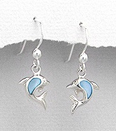 Sterling Silver Dolphin with Blue Mother of Pearl Earrings 406