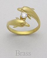 Couple Dolphin Brass Ring 806 with CZ