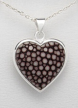Sterling Silver Stingray Leather Necklace PP 947 (Brown)