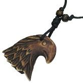 Carved Bone Hawk Head Necklace