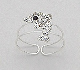 Clear Crystal Dolphin Sterling Silver Toe Ring 653