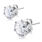 Stainless Steel with 9mm April Birthstone Round Clear CZ Stud Earrings 051