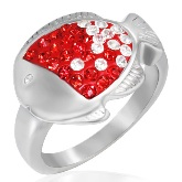 Cute Crystal Fish Ring