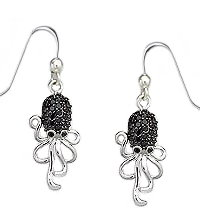Sterling Silver Octopus Earrings with CZ and Rhodium Plating 402
