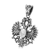 Stainless Steel Albanian Eagle Pendant 163 with CZ