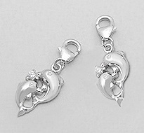 CZ Dolphin Sterling Silver Clip on Charm 819