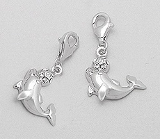 CZ Dolphin Sterling Silver Clip on Charm 919