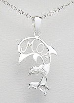 Sterling Silver Mother & Child Dolphin Necklace 176