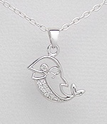CZ Dolphin Sterling Silver Necklace 309