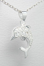CZ Dolphin Sterling Silver Necklace 393