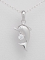 CZ Dolphin Sterling Silver Necklace 958