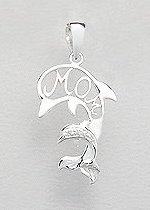 CZ Sterling Silver Mother & Child Dolphin Pendant 176