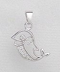 CZ Dolphin Sterling Silver Pendant 309