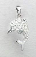 CZ Dolphin Sterling Silver Pendant 393