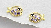 CZ Fish Sterling Silver Earrings 186 with 14k Yellow Gold Plating