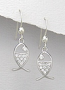 CZ Fish Sterling Silver Earrings 214
