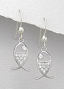 CZ Fish Sterling Silver Earrings 214