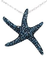 Sterling Silver Sea Star with Dark Blue Crystals Pendant 991