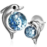 Platinum Plated Dolphin Post Earrings 241