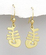 Sterling Silver Fishbone Earrings 825 with CZ and 14k Yellow Gold Plating