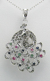 Sterling Silver Peacock Pendant 476 with Gemstones