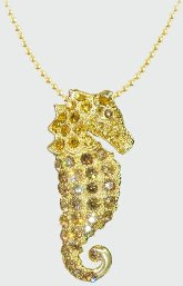 Seahorse Gold Crystal Necklace