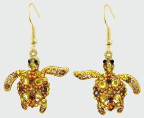 Sea Turtle Gold Crystal Theme Earrings
