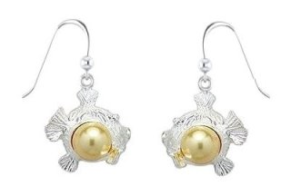 Fish with Gold Pearl Sterling Silver Earrings