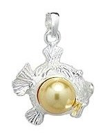 Fish with Gold Pearl Sterling Silver Pendant