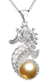 Seahorse with Gold Pearl Sterling Silver Necklace PP 757