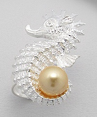 Sterling Silver Seahorse Ring with Pearl - Gold