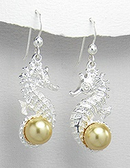 Seahorse Sterling Silver Earrings PE 148 (with Gold Pearl)