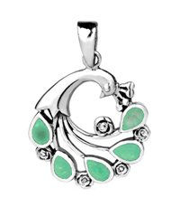 Sterling Silver Peacock Pendant 578 with Green Turquoise